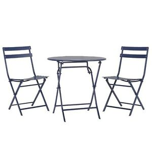 Patio Bistro Set 2-3 Person Weather Resistant Folding Chairs Armless Steel Blue