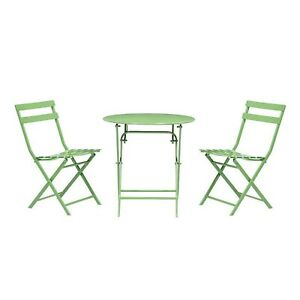 Outdoor Patio Bistro Set Folding Chairs Armless Weather Resistant (3-Piece)