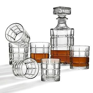 High Quality Italian Set 7 Piece - 6 Whiskey Glasses + 1 Decanter Gift