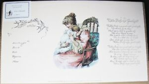 Baby Birth Certificate Poem Stone Lithograph Repo Victorian Antique Mother Child