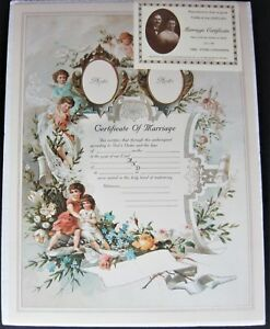 """Certificate Marriage Stone Lithograph Repro Victorian Antique Gift 12"""" x 16"""""""