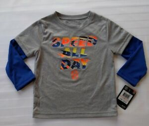 New Boys Toddler Under Armour Long Sleeve Grey 100% Polyester Shirt Size 2T $18.00