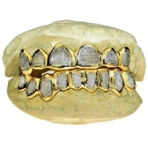 925 Gold Plated Two-Tone Custom Grillz Diamond-Dust Teeth Handmade Real Grills
