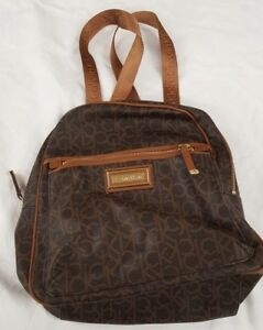 Women's Calvin Klein Small Monogram Leather Backpack Brown Handbag Purse