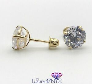 2 ct Round Cut Created Diamond Earrings Real 14K Yellow Gold Screwback Studs