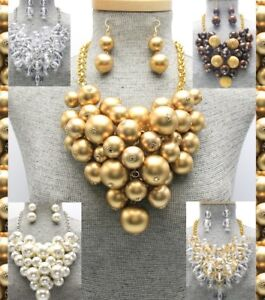 Statement Chunky Ball Wood Beaded Lucite Pearl Bead Cluster Necklace Set