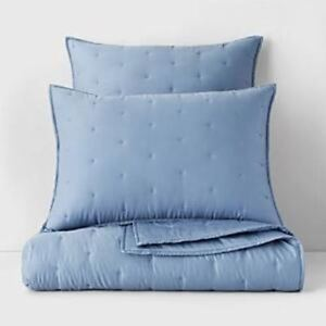 $80 Oake Quilted Box Embroidery Standard Pillow Sham Blue 20quot; x 28quot; NWT $24.99