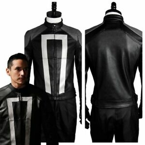 AGENTS OF SHIELD GHOST RIDER BLACK LEATHER SLIM FIT JACKET FOR MEN