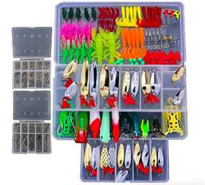 228 Pc Professional Fishing Lures Tackle Kit Box Bass Trout Hooks and Crankbait