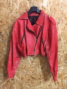 * Vintage Red Leather Biker Jacket 80s Brando Shop Ladies Girls UK 14 Authentic