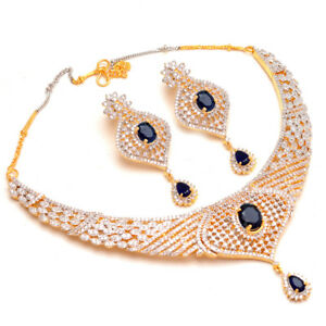 Necklace Set Blue Sapphire Ad Cz Gemstones 2 Color Gold Jewelry For Girls 7886