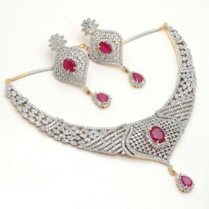 Necklace Set Red Ruby Ad Cz Gemstone 2 Color Gold Jewelry For Women