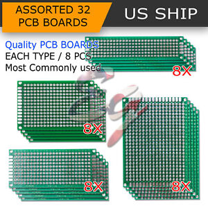 32PCS Double Sided PCB Proto Perf Board Through Plated 2x8 3x7 4x6 5x7 cm