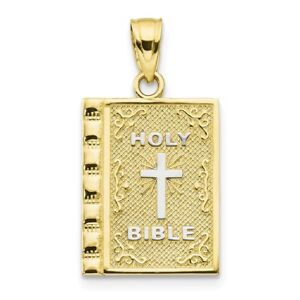 10kt Yellow Gold Holy Bible Pendant Charm Necklace Religious Prayer Book Box