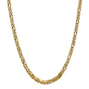 14k Yellow Gold 5.25mm Link Byzantine Necklace Chain Pendant Charm Fine Jewelry