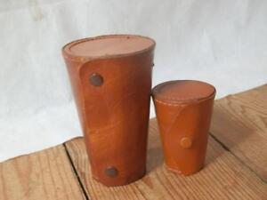 Set Of Newey Steel Tumblers & Set Of  Shot Glasses Both Sets In Leather Cases