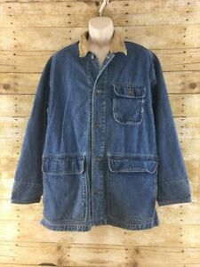 Vtg Levis Long Denim Jean Jacket Mens Large Oversized Barn Chore Leather Collar