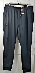 NWT MENS UNDER ARMOUR BLACK ATHLETIC COLDGEAR DRAWSTRING SWEAT PANT JOGGERS XL