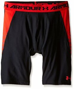 Under Armour Boys' HeatGear Armour Up Fitted Shorts – Long Black (001)Risk Red