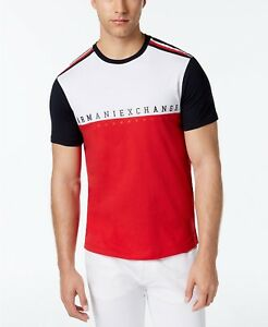 $120 ARMANI EXCHANGE Men's WHITE RED BLUE SHORT-SLEEVE LOGO CREW-NECK T-SHIRT M