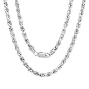 Solid Sterling Silver Italian Rope Chain Mens Woman 2mm 16 30 NEW Italy $24.00