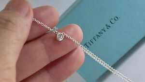 Tiffany & Co Silver Peretti .04ct Diamond By The Yard Necklace 16.25 in  18815C