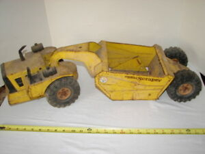 VINTAGE PRESSED STEEL TOY TRUCK TONKA CONSTRUCTION MIGHTY SCRAPER PARTS RESTORE
