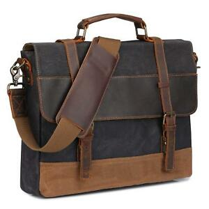 S-Zone Vintage Waxed Waterproof Canvas Leather Messenger Bag 15.6 inch Laptop