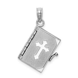 14kt White Gold 3 D Bible Book Cross Religious Cover Pendant Charm Necklace