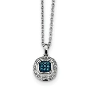 925 Sterling Silver Rhod Plated White Blue Diamond Pendant Chain Necklace Charm