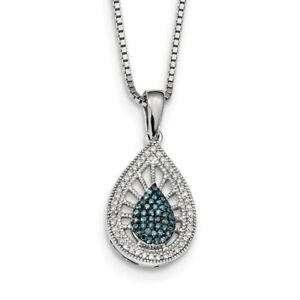 925 Sterling Silver Blue White Diamond Pendant Charm Necklace Fine Jewelry