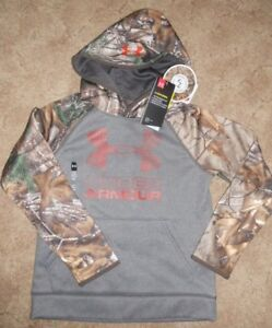 Under Armour Youth Boys Girl Small Realtree Camo Hoodie Sweatshirt ColdGear NEW