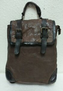 NWT Origi Italy Women's Convertible Dark Brown Vintage Leather Backpack