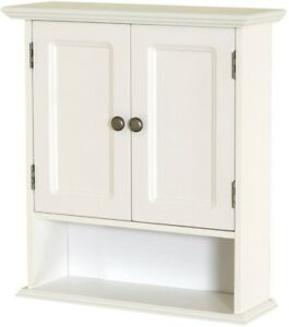 Bathroom Cabinet Storage Wall Mounted 3 Shelves 2 Doors Display Decorative White