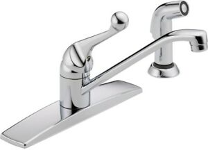 Delta Classic Single-Handle Standard Kitchen Faucet with Side Sprayer and in