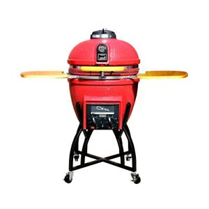 Vision Grills Kamado Professional Ceramic Charcoal 4 in 1 Grill  CHILI RED new