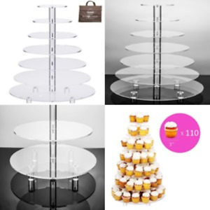 7-Tier Cupcake Stand Wedding Cake Stand Large Acrylic Round Dessert Food Display