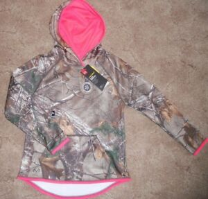 Under Armour Girls Real Tree Camo & Pink Hoodie Sweatshirt ColdGear Small Large