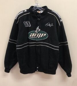 Vintage AMP Energy Dale Earnhardt Jr NASCAR Racing Jacket Size Mens Large Black