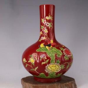 Chinese Old Marked Red Famille Rose Carved Flower & Birds Pattern Porcelain Vase