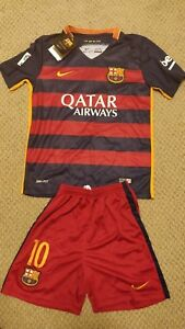 Nike Barcelona 2015 MESSI dri fit boys uniform new with tags shirt and shorts