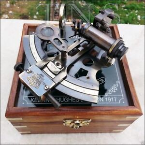 Collectible Antique Nautical Brass Working German Marine Sextant w Wooden Box $39.00