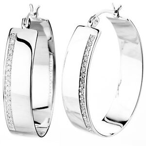 Sterling Silver Diamond Hoop Earrings (14 cttw)