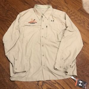 NWT Under Armour Fishing Shirt Upf 30 Tan Lightweight Breathable Zip Button I