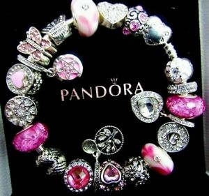 PANDORA BRACELET WIFE MOM PINK CHARMS HEARTS FAMILY STOPPER BIRTHDAY GIFT BOX