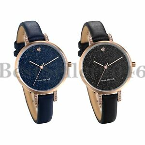 Womens Crystal Dial Bracelet Genuine Leather Strap Quartz Analog Wrist Watch