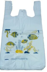 Fish T-Shirt Bags Handles Large for Animals and Pets Stores 11.5