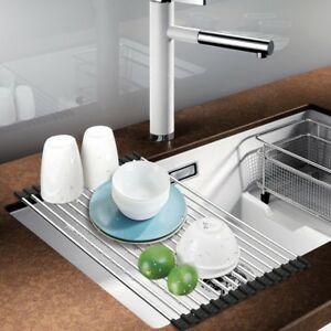 Stainless Steel Roll Up Dish Drying Rack Drainer Over the Sink Space Save Holder