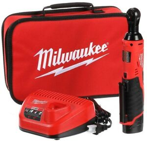 MILWAUKEE M12 Cordless Ratchet 2457-21 38 in Variable Speed Battery Charger Bag