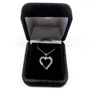 10k White Gold Authentic Diamond Heart Necklace